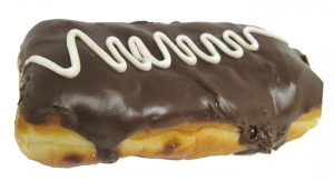 Custard FIlled Chocolate Iced Long John w White Drizzle