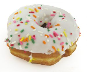White Iced Yeast Ring with Sprinkles 007